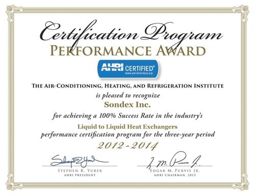 Sondex – AHRI Certification